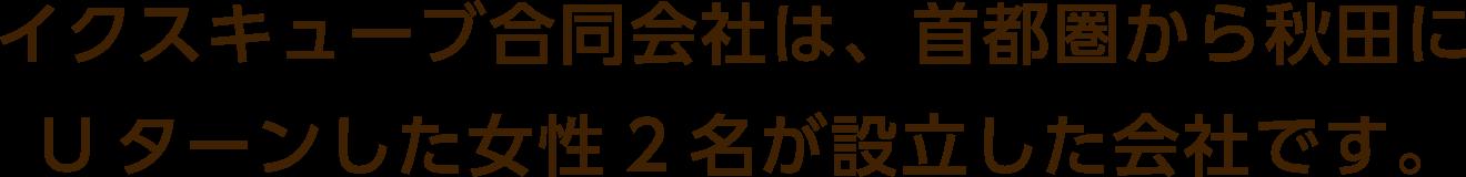 イクスキューブ合同会社は、首都圏から秋田にUターンした女性2名が設立した会社です。